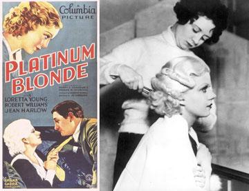 """נציגה ראשונה לבלונד פלטינה. ג'יין הארלו על סט הצילומים לסרט """"פלטינום בלונד"""", לצד כרזת הסרט משנת 1931 (צילום: gettyimages)"""