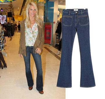 שלי גפני מחזירה את הסבנטיז עם ג'ינס פדלפון של מנגו (259.90 שקל) (צילום: ראובן שניידר)