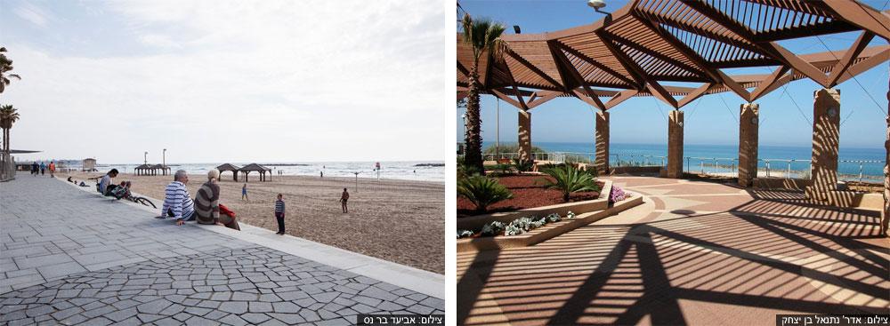 מימין: טיילת נתניה שופצה וקיבלה פרגולות, שמאפשרות להתרענן בלי לקלקל את מראה הים. משמאל: טיילת תל אביב חשופה כמעט לחלוטין