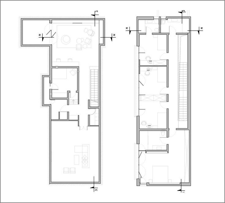 מימין: תוכנית הקומה העליונה, הכוללת ארבעה חדרי שינה ושלושה חדרי רחצה. משמאל: המרתף, ובו חדר משפחה ואירוח וחדר קולנוע ביתי (תכנית: ורד בלטמן כהן)