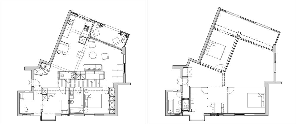 בדירה המקורית (מימין) היו מימין לדלת הכניסה חדר רחצה, מטבח, פינת אוכל וחדר שינה אחד. משמאלה היה חדר שינה נוסף, וממול הסלון. במהלך השיפוץ נשברו רוב הקירות, חדרי השינה רוכזו בצד אחד והסלון והמטבח עברו לצד המרפסת. ביניהם נבנה אלמנט נגרות גדול ורב שימושי (תכנית: ספארו אדריכלים)