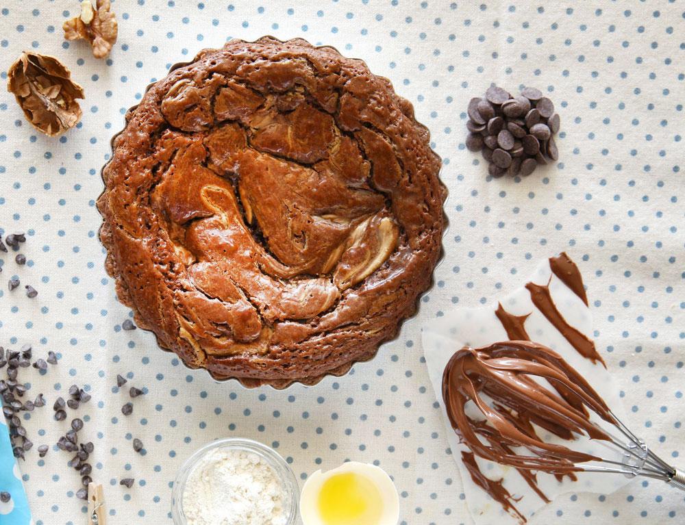 פאי שוקולד פאדג' עם ממרח אגוזים (צילום: לירון אלמוג)