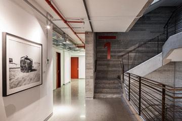 """על הקיר משמאל: """"עקורים"""" של מיקי קרצמן (צילום: טל ניסים)"""