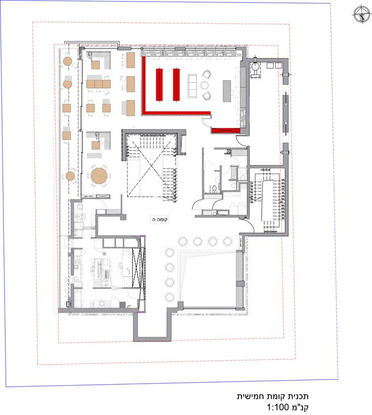 """תוכנית הקומה החמישית, ובה קפטריה וספרייה (שרטוט: arstudio - ארנון ניר אדריכלות בע""""מ )"""