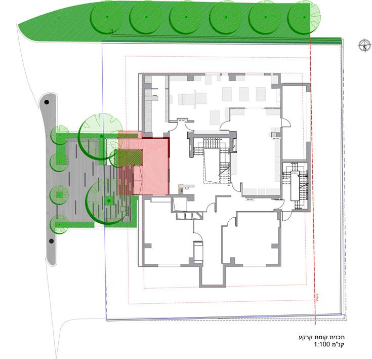 """תוכנית קומת הכניסה, הכוללת סדנאות עבודה שונות (שרטוט: arstudio - ארנון ניר אדריכלות בע""""מ )"""