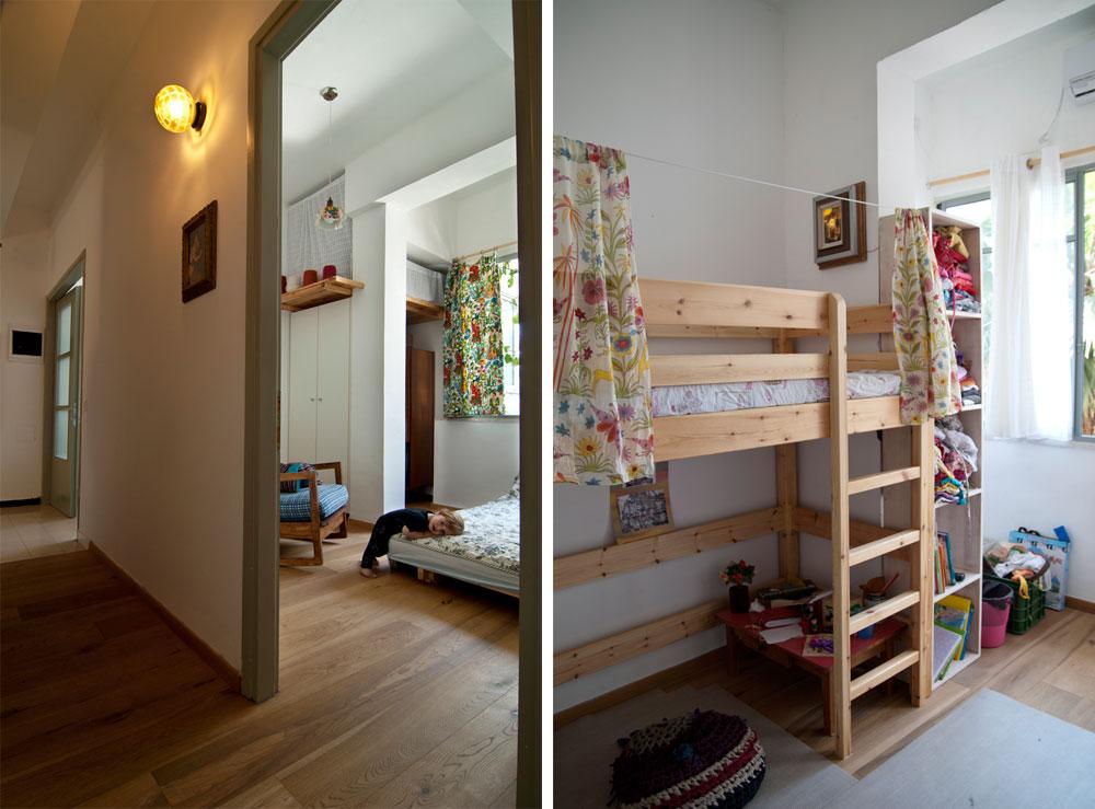 מבט מהמסדרון. מימין: חדרה של הילדה, שהיה לפני השיפוץ מטבח. משמאל: חדר השינה של אמה של הילדה, ובקצה המסדרון חדר השינה הגדול (צילום: שי בן אפריים)