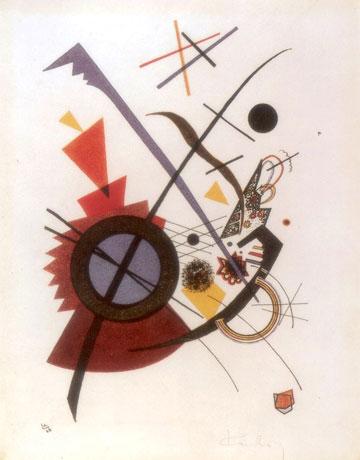 הצייר ואסילי קנדינסקי היה חבר סגל המורים בבאוהאוס. ''סגול'', ליתוגרפיית צבע, 1923