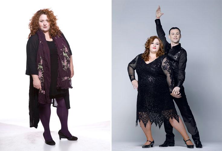 אסתי זקהיים ב''רוקדים עם כוכבים'' (מימין) ובמראה טבעי יותר. ''אני כבר יודעת במה אני נראית טוב ובמה לא''  (צילום: רמי זרנגר, דביר כחלון)