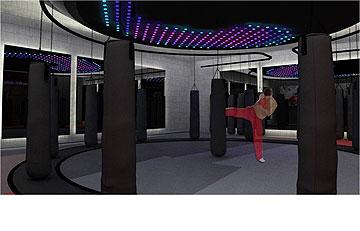 הדמיה של מרחב הקיק-בוקסינג, ב''גרייט שייפ'' הנבנה בהרצליה. עיצוב: ניר פורטל (באדיבות גרייט שייפ)
