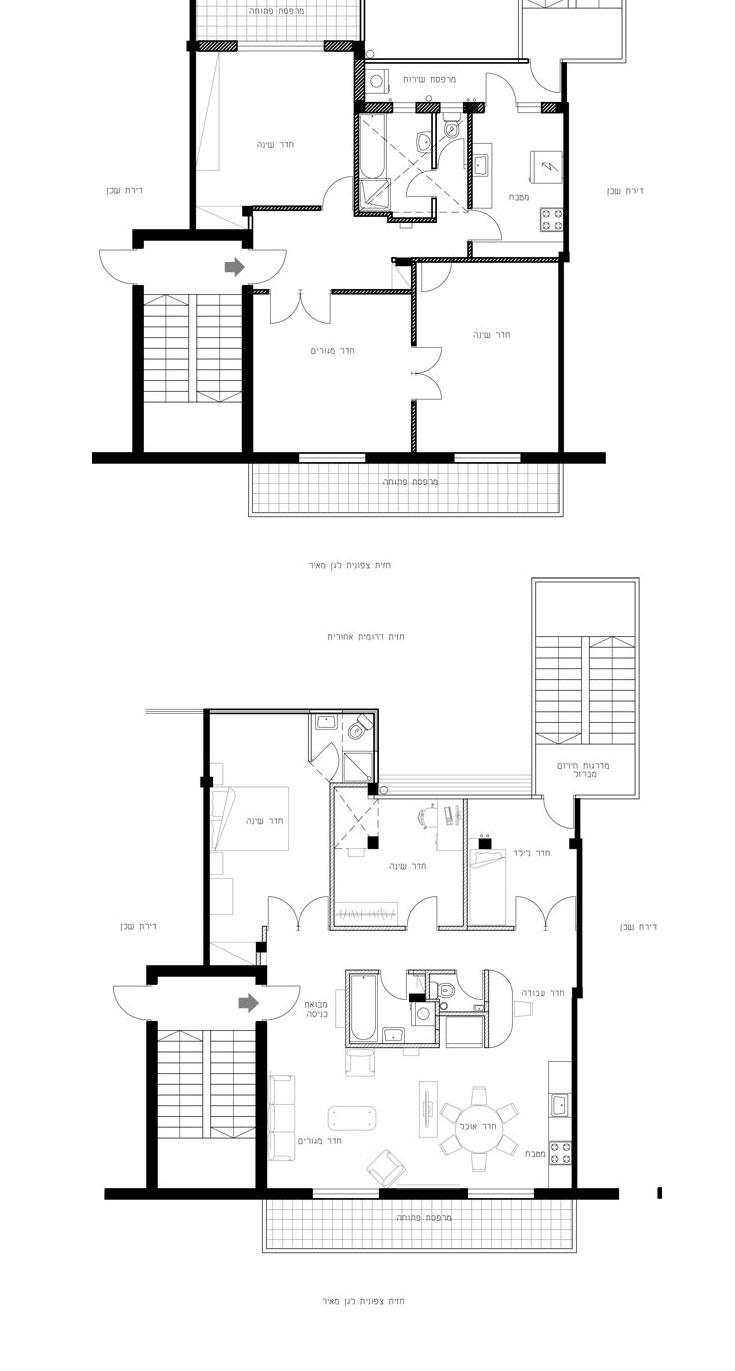 למעלה: תוכנית הדירה ''לפני''. למטה: חדרי הרחצה והשירותים מוקמו במרכז הדירה, כדי לפנות מקום לחדרים נוספים מסביב. מרפסת פתוחה הפכה לחדר רחצה נוסף, הצמוד לחדר השינה הגדול. מדרגות החירום (מימין למעלה) מאפשרות עלייה ישירה מהדירה לגג (באדיבות גודוביץ אדריכלים)