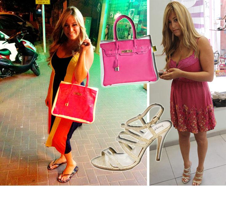 """למי שתהה, את נעלי החתונה הזהובות שלה רכשה ליהיא גרינר בנעלי ג'וזף. בלי קשר לאירוע המדובר של השנה, היא גם התחדשה בתיק ורוד של המותג הדנדש שהגיע לארץ Banana Taipei לרשת """"המעבדה"""" (299 שקל)"""