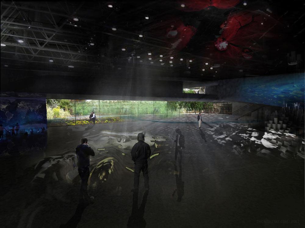 הירידה מתחת לפני הקרקע מובילה לגלריות שאינן זקוקות לאור יום (הדמיה: שוורץ-בסנסוף בשיתוף so-arch)