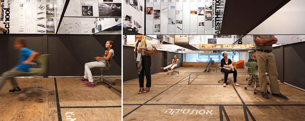 כך עיצבו השניים את תערוכתם, שהוצגה בגלריה זה-זה-זה בנמל תל אביב. נוסעים בכיסאות מתגלגלים מתחת לעבודות, כמו מתחת למטוסים (צילום: שי אפשטיין)