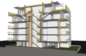 חתך אחד הבתים בשכונת גן רש''ל, הרצליה: הוספת ממ''ד ומרפסת (הדמיה: אדריכל דרור רימוק, יזם: חברת רנובו בע''מ)