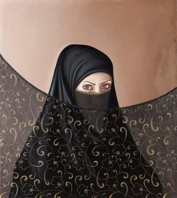 """תערוכת היחיד """"בין כאב ליופי"""". ''כשאישה הולכת בלבוש מכוסה שחור היא מושכת את המבטים'' (צילום: אבשלום אביטל, באדיבות המוזיאון לאומנות מוזיאון האיסלאם)"""