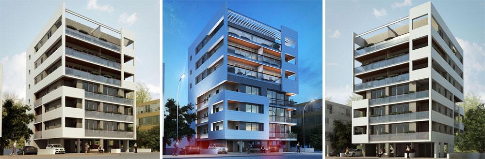 בניין ברחוב תל חי ברמת גן, בתכנון ''מונא אדריכלים''. תוספת הממ''דים והמעליות מעוותת בדרך כלל את פרופורציות הבניינים. כאן מנסים ליצור ישות אסתטית אחת. בכל מקרה, השינוי משמעותי (הדמיה: 3D place)