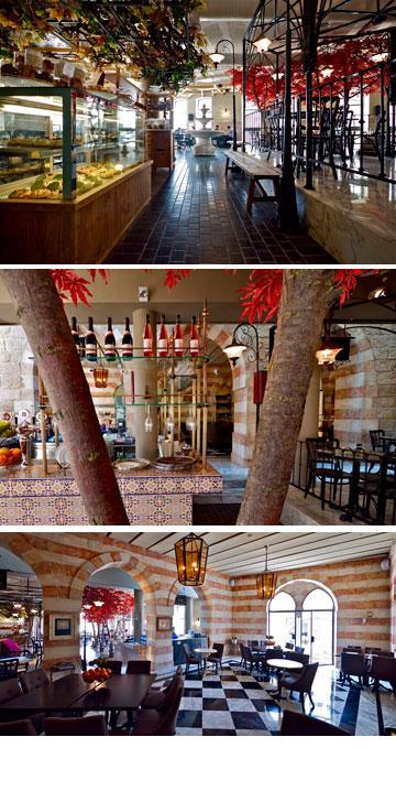 מסעדת ''לוצ'נה'' בירושלים. החלק החדש (למעלה) עוצב בסגנון רחוב איטלקי. קשתות ששומרו ממבנה עות'מאני ישן (במרכז) מובילות לחלק הישן של המבנה (למטה), שרוצף בשחור-לבן (צילום: איתי סיקולסקי)