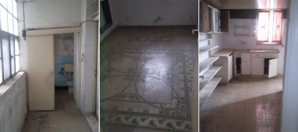 הדירה ''לפני''. במרכז אפשר לראות את ''שטיח'' האריחים המצוירים, שהוזז ממקומו בתהליך השיפוץ (צילום: גליה גלעדי סטודיו Taga)