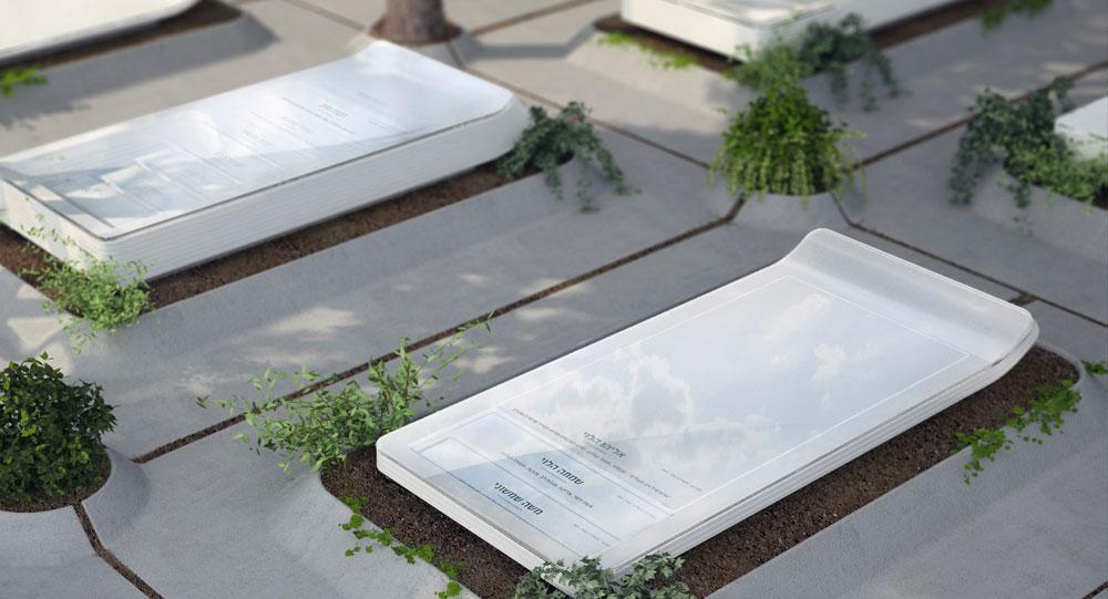 האסתטיקה של בית העלמין: ליאור רוקח-קור מעצבת מצבה המיועדת לקבורה רווייה, ומציעה אופציה נעימה יותר ממה שרואים ברחבי הארץ בקבורה בקומות (הדמיה: באדיבות שנקר)