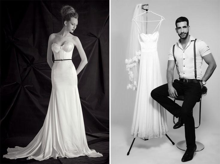 אוהד איתן נורי (מימין) ושמלת כלה של גלי קרטן. ''כלה לא חכמה היא כלה שמוציאה על שמלת כלה יותר ממה שיש לה בכיס ומתחילה את חיי הנישואין שלה ברגל שמאל''