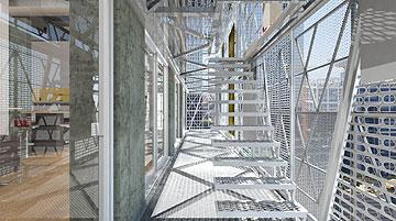 מגורי סטודנטים עם חזות מפוקסלת. הפרויקט של דימיטרי שרייבמן (באדיבות החוג לעיצוב פנים המכללה למינהל)