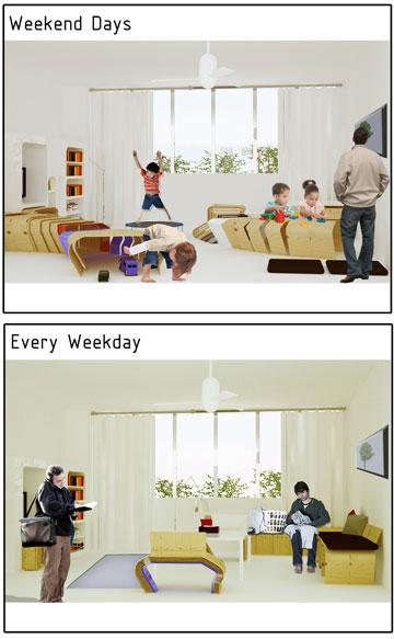 הפרויקט של יערה פרדו. בזכות ה''פרגוד'' הסלון משתנה, בהתאם לצרכים (באדיבות החוג לעיצוב פנים המכללה למינהל)
