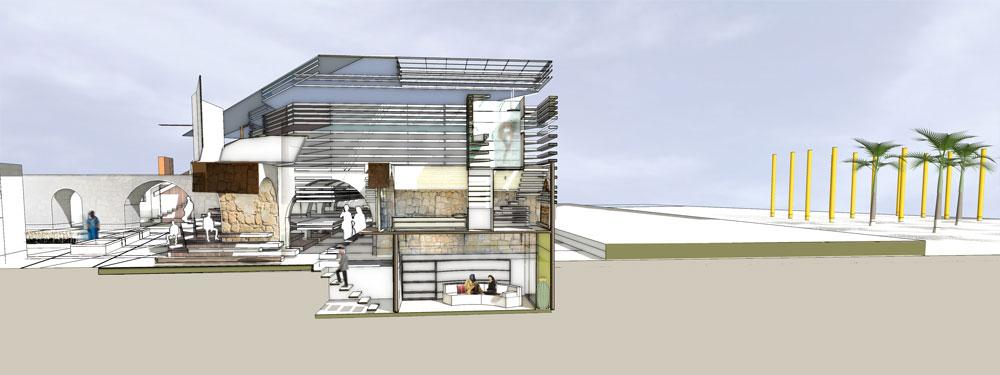 הפרויקט של מיה שלף, המכללה למינהל. נותנת ל''נעלמים'' בעיר לוד נוכחות ומקום, באמצעות הפיכת חאן עתיק לבית ארעי לחמולה בדווית (באדיבות החוג לעיצוב פנים המכללה למינהל)