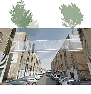 גשרים מחברים בין גינות קהילתיות על גגות קרית המלאכה. הפרויקט של רעות אביגל (באדיבות החוג לעיצוב פנים המכון הטכנולוגי HIT חולון)