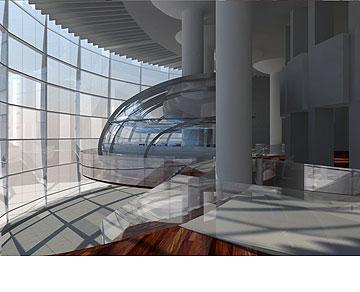 מרכז לעיתונות חופשית בלב ''הבימה''. הפרויקט של מריאנה זנזורי (באדיבות החוג לעיצוב פנים המכון הטכנולוגי HIT חולון)
