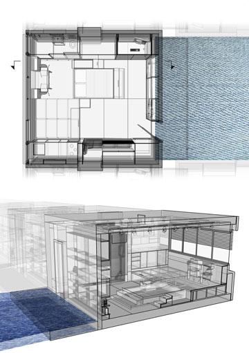 30 מ''ר לדייר - יחידת מגורים בבניין המשרדים ''כלל''. הפרויקט של אמיר משאט (באדיבות החוג לעיצוב פנים המכון הטכנולוגי HIT חולון)