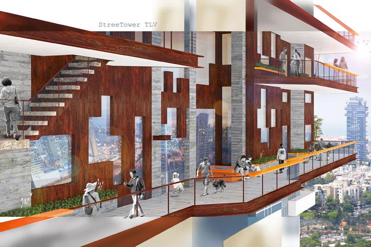 הפרויקט של נועה כהן. דיור בר השגה בקומות 13-19 ב''מגדל מנהטן'' בפארק צמרת, עם רחוב עילי היקפי, שאליו אפשר להגיע מכל דירה (באדיבות החוג לעיצוב פנים המכון הטכנולוגי HIT חולון)