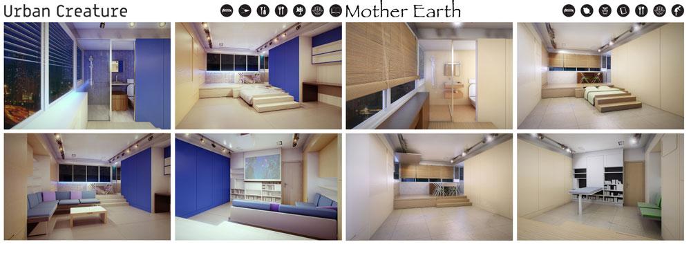 הפרויקט של אמיר משאט. המשרדים בבניין ''כלל'' במרכז תל אביב יהפכו ליחידות דיור בנות 30 מ''ר, שיעוצבו בהתאם לצרכיו ואופיו של הדייר (באדיבות החוג לעיצוב פנים המכון הטכנולוגי HIT חולון)