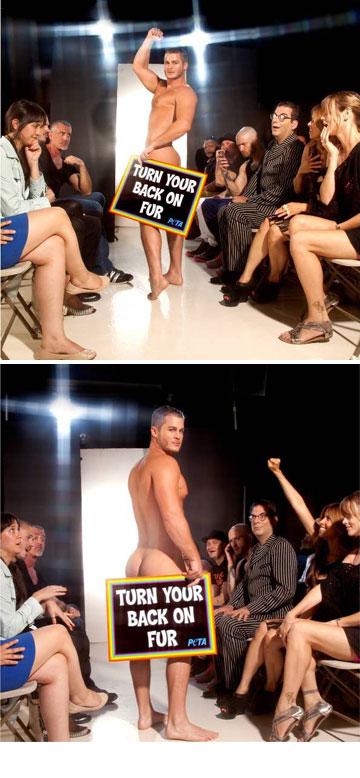 אוסטין ארמקוסט בקמפיין החדש של Peta. הסלוגן: Turn your back on Fur