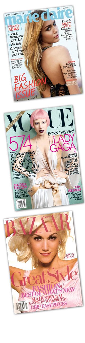 חוזרות לסיבוב שני, מלמעלה: ההופעות הקודמות של מיילי סיירוס על שער מגזין מארי קלייר, ליידי גאגא על שער מגזין ווג האמריקאי וגוון סטפאני על שער מגזין הארפר'ס בזאר