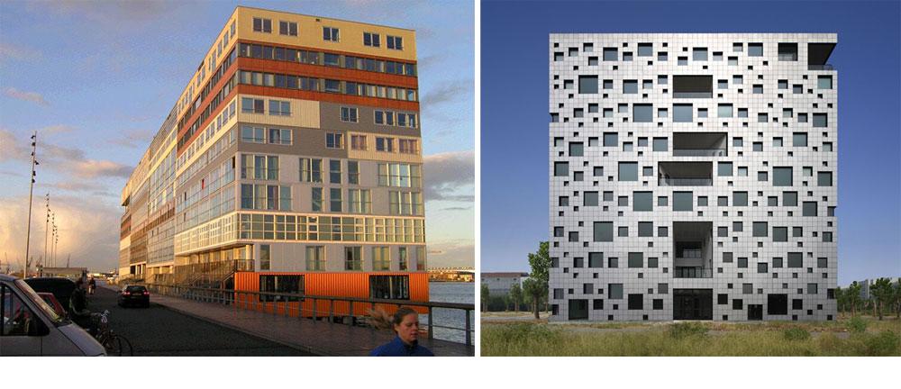 לא, זו לא הברקה ישראלית. היא מגיעה לכאן באיחור אופנתי (או לא). מימין: ''הבניין עם אלף החלונות'' בעיר הסינית ז'ינואה, בתכנונו של סאקו קאישירו, וקומפלקס סילודאם באמסטרדם (MVRDV) (צילום: SAKO Architects, Ronald, cc)