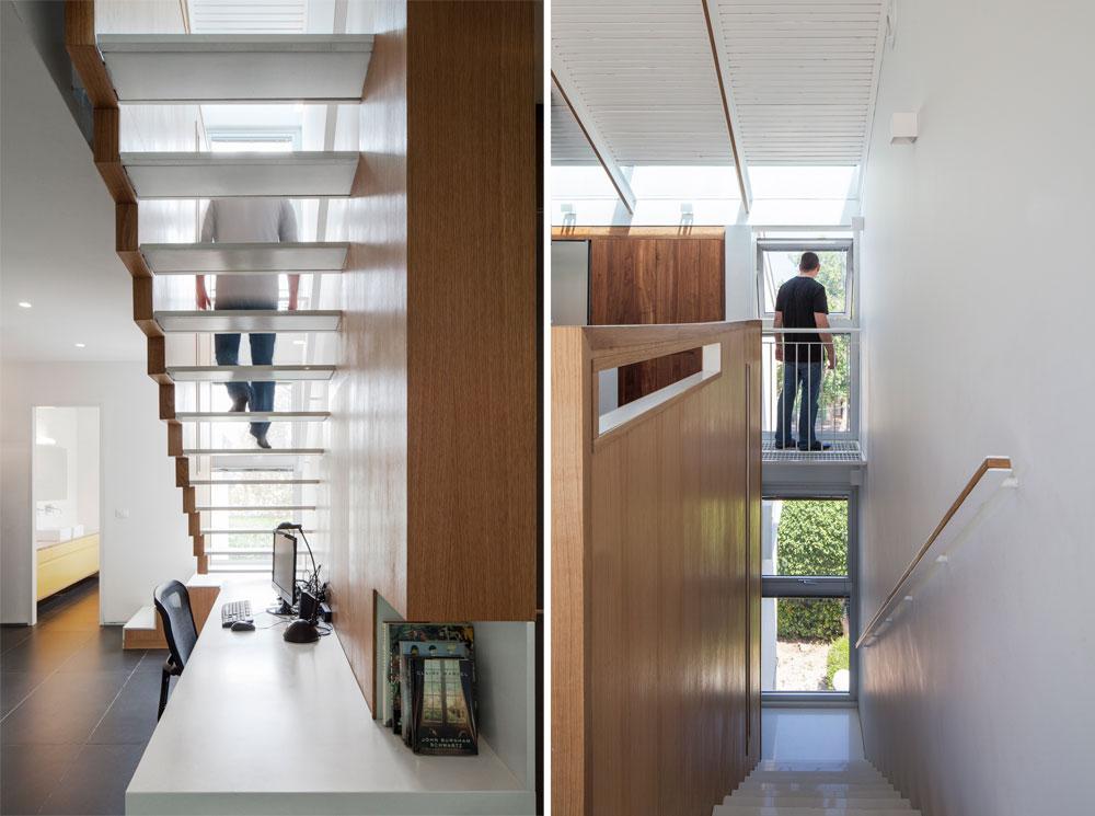גרם המדרגות עוצב גם הוא בלבן ועץ, עם מדרכים דקים ''מרחפים'' ופרופורציות מדויקות (צילום: אביעד בר נס)