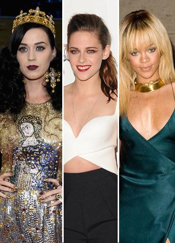 השובבות. מימין לשמאל: ריהאנה, קייטי פרי וקריסטן סטיוארט (צילום: gettyimages)