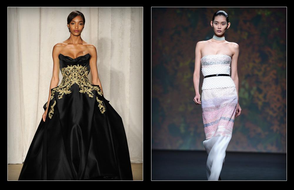 """תצוגת הקוטור של דיור (מימין) וג'ורדן דאן בתצוגת אופנה של מרקזה. """"נפסלתי מהשתתפות בתצוגה של דיור בגלל הציצים שלי"""" (צילום: gettyimages)"""
