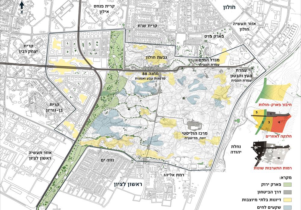 ההצעה של קרינסקי: אזור חולות ללא התערבות, אזורים אחרים עם התערבות, וגם הצעה לבנות שכונות חדשות סביב הדיונות (הדמיה: עדי קרינסקי)