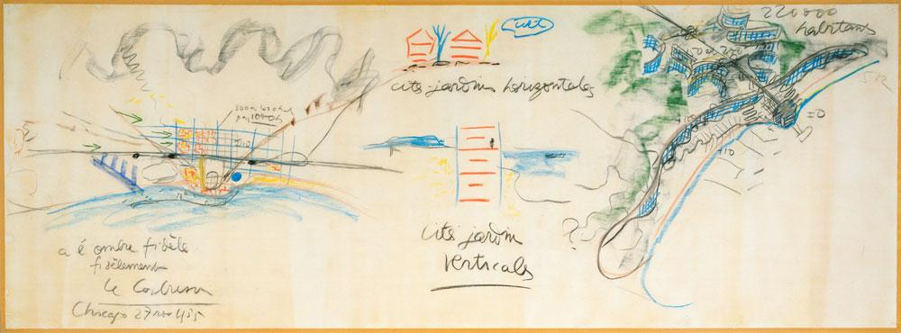 תוכניות-אב בשרטוטו של לה קורבוזיה. בניגוד למקובל, החליטו האוצרים על זווית שמתמקדת באופן שבו התבונן ודמיין נופים (צילום: 2013 Artists Rights Society , New YorkADAGP, ParisFLC)
