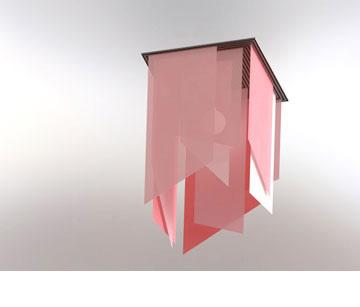 גוף תאורה בעיצוב שירה קרת ואיתי לניאדו: שכבות בד מושחלות על פרופיל מהחומר החדש (באדיבות: תערוכת סגמנטים בחלל - דומיסיל)