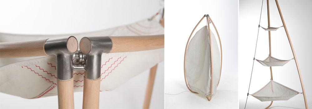 הסדרה של אלי סער מפגינה אלגנטיות בעץ. בהשראת מפרשים, הוא יצר סדרה של רהיטים וגופי תאורה עשויים היטב (צילום: שלהבת אדוה)