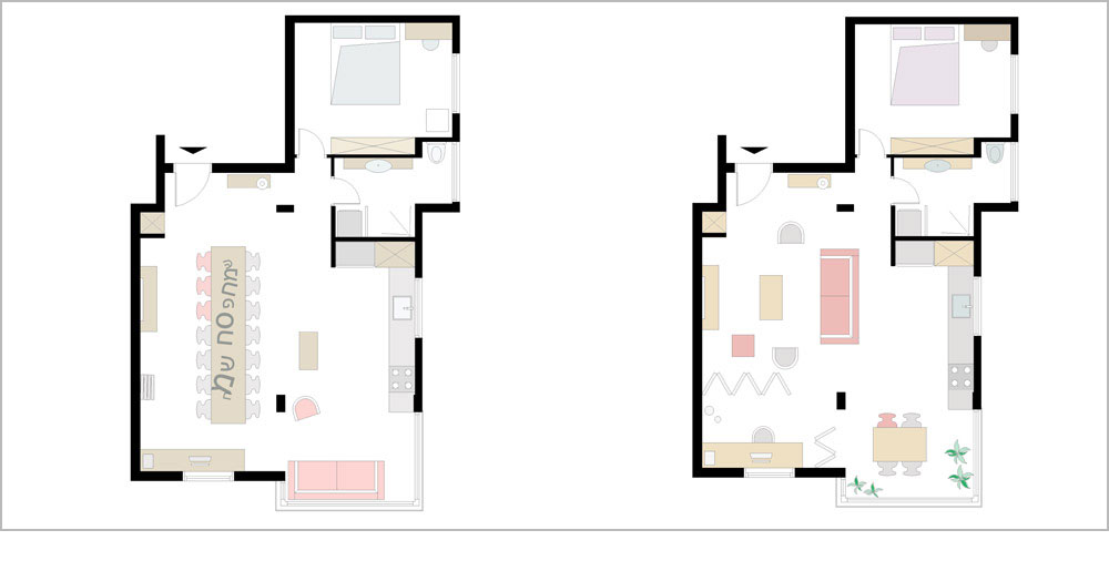 תוכנית הדירה. מימין: בעת שגרה. משמאל: אופציה שמראה כיצד אפשר להזיז את מערך הרהיטים בדירה כך שתוכל להכיל שולחן חג ל-20 סועדים (באדיבות רון שינקין סטודיו לעיצוב ואדריכלות)