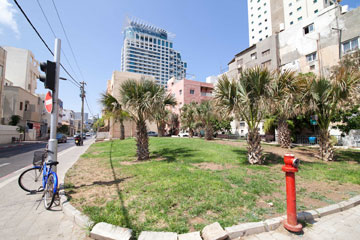 הגינה ברחוב הרב קוק, סמוך לכרם התימנים. בסמוך אליה יקום מגדל (צילום: דור נבו)
