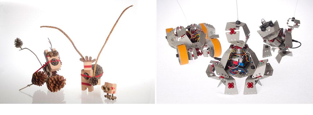 גירויים משעשעים לילדים: מימין, גאות גונן בסדרת רובוטים קטנים ומודולריים ליצירת גרסאות אישיות. משמאל: אלכס חייקין מציגה צעצועים חלולים, שיש להשלימם בעזרת הטבע (צילום: שלהבת אדוה)