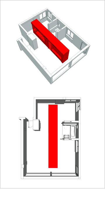 הקיר הפונקציונלי במרכז דירת 59 מ''ר (מודל: ספארו אדריכלים)