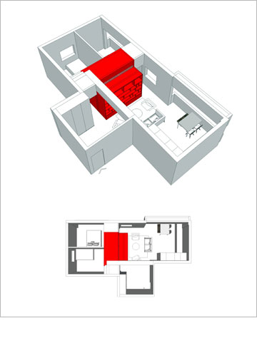 עקרונות התכנון של דירת האם והבת (מודל: ספארו אדריכלים)