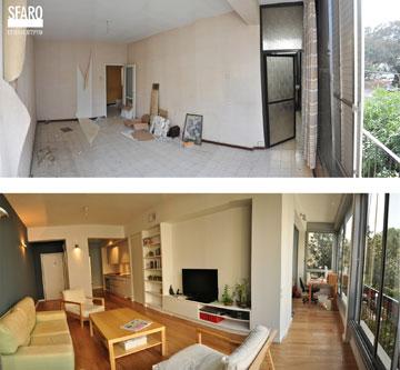 לפני (למעלה) ואחרי. דירת 59 מ''ר (צילום: ספארו אדריכלים, בועז לביא)