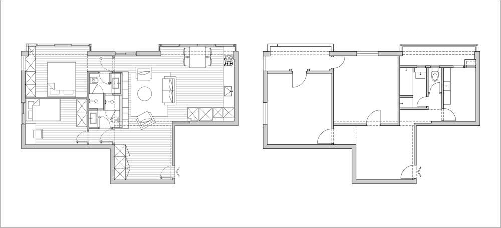 תוכנית הדירה. מימין: ''לפני''. מבואה שמבזבזת שטח, שני חדרים, וחזית עיקרית לאור ואוויר, שמאירה בעיקר את המטבח, חדר הרחצה ומרפסות השירות. משמאל: ''אחרי''. תקציב השיפוץ המכובד - 400 אלף שקלים - איפשר לבנות מחדש את הדירה, כשבמרכזה ''קובייה'' שמכילה את מערכות התשתית ואת שני חדרי הרחצה. מצדה האחד החלל המשותף ומצדה השני חדרי השינה. המרפסות בוטלו (שרטוט: ספארו אדריכלים)