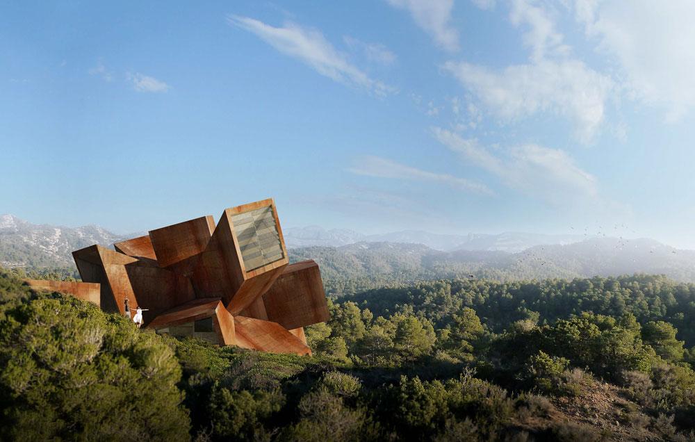 הבית שמתכנן האמן והאדריכל הצרפתי דידייה פאוסטינו מורכב מצינורות מרובעים ששזורים זה בזה (Courtesy of Architecture de Collection)